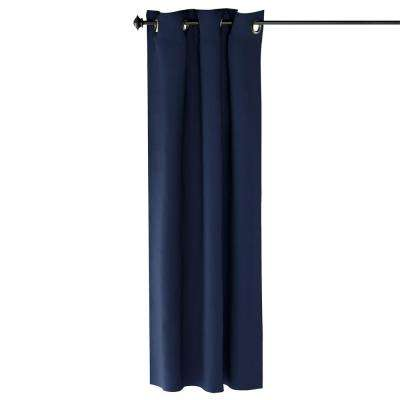 Collins Polyester Blackout Curtain in Dark Blue - 42 in. x 63 in.
