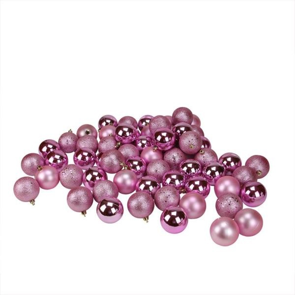 2.5 in. (60 mm) Bubblegum Pink Shatterproof 4-Finish Christmas Ball Ornaments (60-Count)