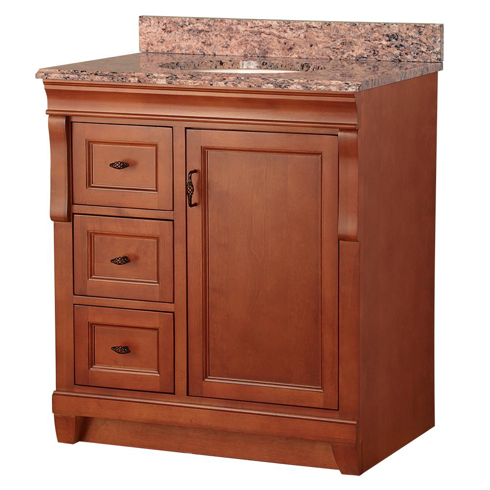 Home Decorators Collection Naples 31 in. W x 22 in. D Vanity in Warm Cinnamon with Vanity Top and Left Drawers with Stone Effects in Santa Cecilia