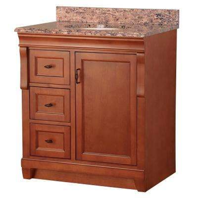 Naples 31 in. W x 22 in. D Vanity in Warm Cinnamon with Vanity Top and Left Drawers with Stone Effects in Santa Cecilia