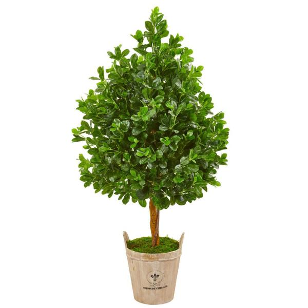 Nearly Natural Indoor 57-In. Evergreen Artificial Tree in Farmhouse Planter