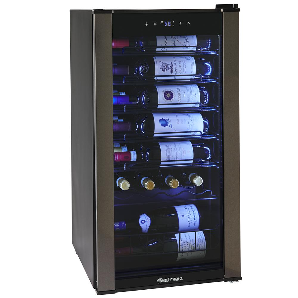 Wine Enthusiast 28 Bottle Black with VinoView Shelf