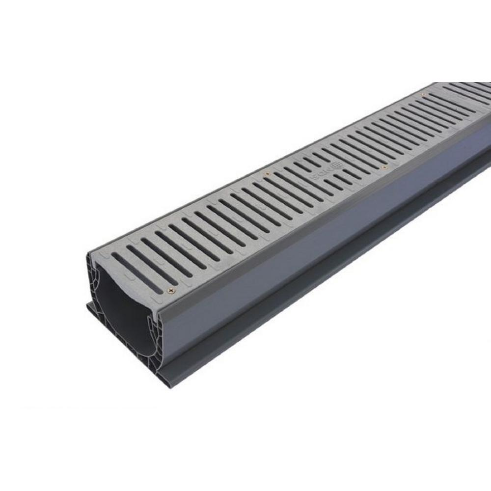 NDS 4 in  x 10 ft  PVC Speed-D Channel Drain with Grate