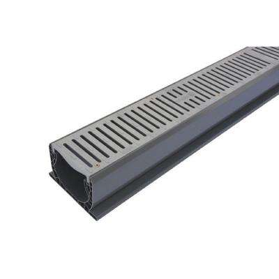 4 in  x 10 ft  PVC Speed-D Channel Drain with Grate