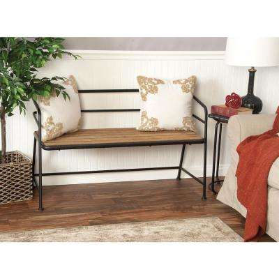 Light Brown Slatted Bench