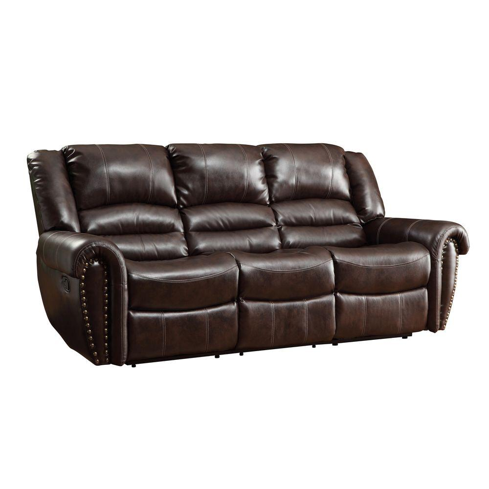 Homesullivan Brown Leather Sofa Product Image