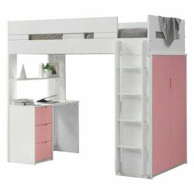 Amelia White and Pink Twin Loft Bed with Solid Wood