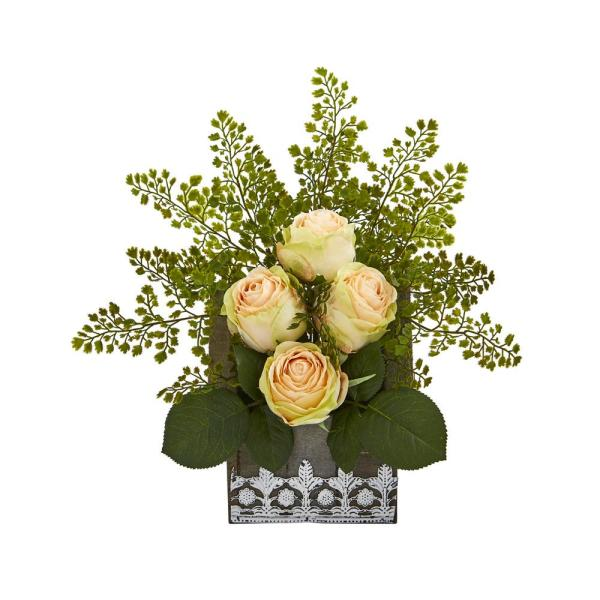 Nearly Natural 13 in. Rose and Maiden Hair Artificial Arrangement in
