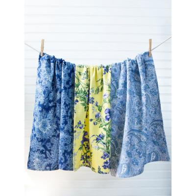 Floral Flowers Blue and Yellow Kitchen Tea Towels Set of 3
