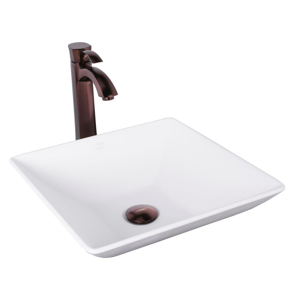 VIGO Dianthus Matte Stone Vessel Sink and Matte Black Blackstonian ...