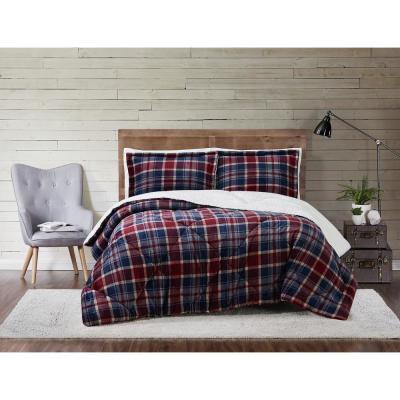 Plaid Red Warm Cozy Full//Queen Size 3 Piece Flannel Bed Super Soft Comforter Set