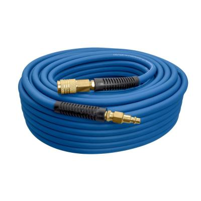1/4 in. x 100 ft. PVC/Rubber Hybrid Air Hose with Brass Fittings