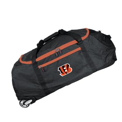 Denco NFL Cincinnati Bengals 36 in. Checked-In Rolling Duffel in Black