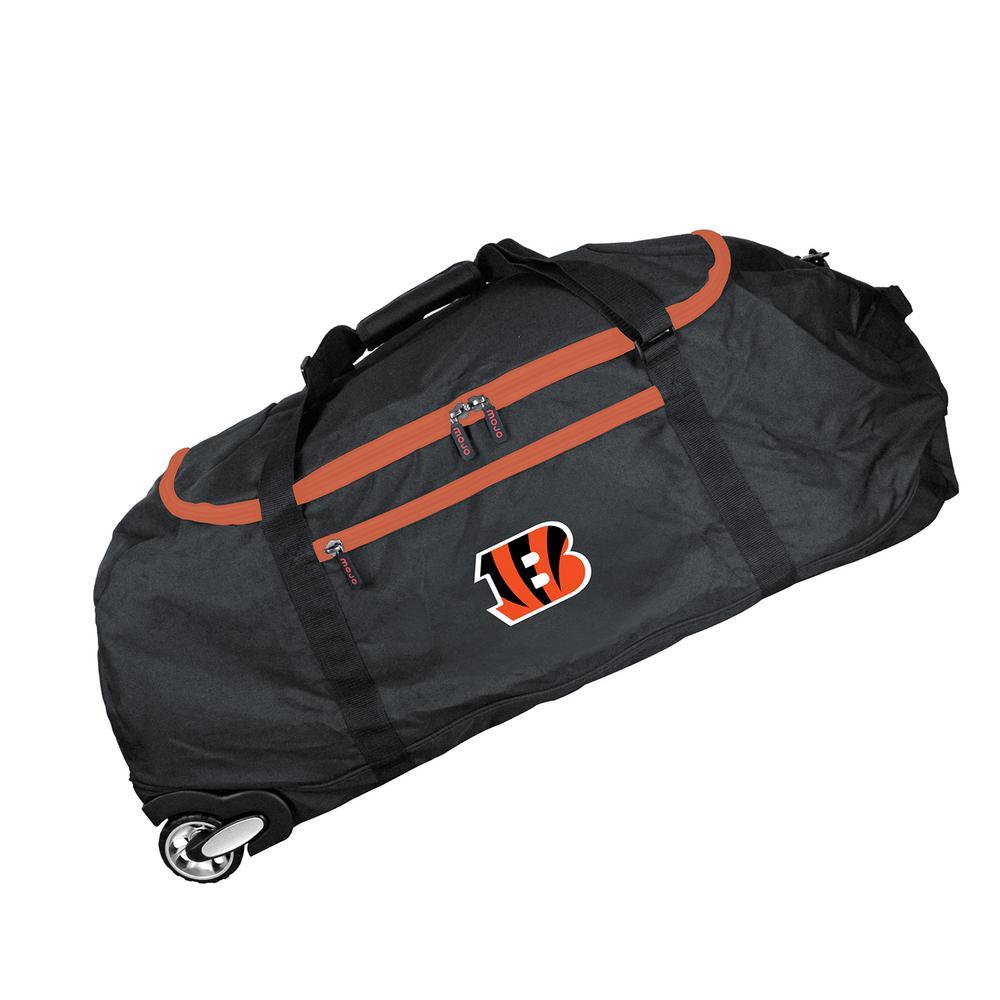 Denco NFL Cincinnati Bengals 36 in. Checked-In Rolling Duffel in Black