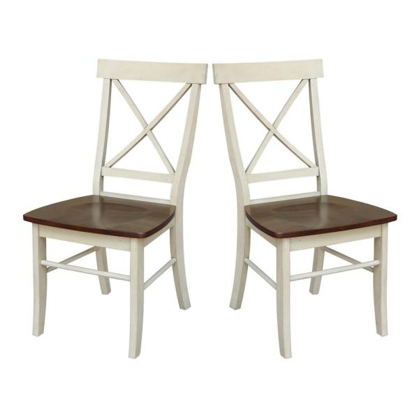 Antique Almond and Espresso Wood X-Back Dining Chair (Set of 2)