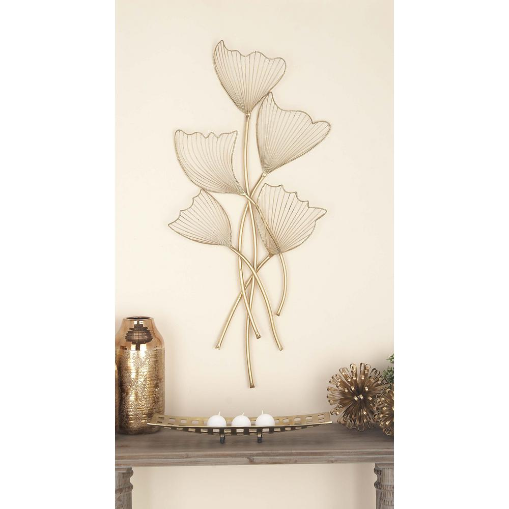 22 in. x 49 in. Natural Gold Iron Flower-Shaped Wall Decor