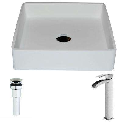 Passage Series 1-Piece Man Made Stone Vessel Sink in Matte White with Key Faucet in Polished Chrome