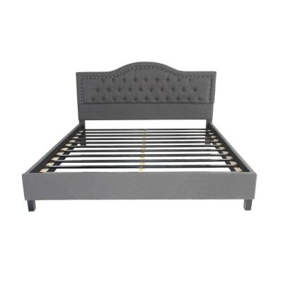 Dante King-Size Tufted Dark Gray Fabric and Wood Bed Frame with Stud Accents