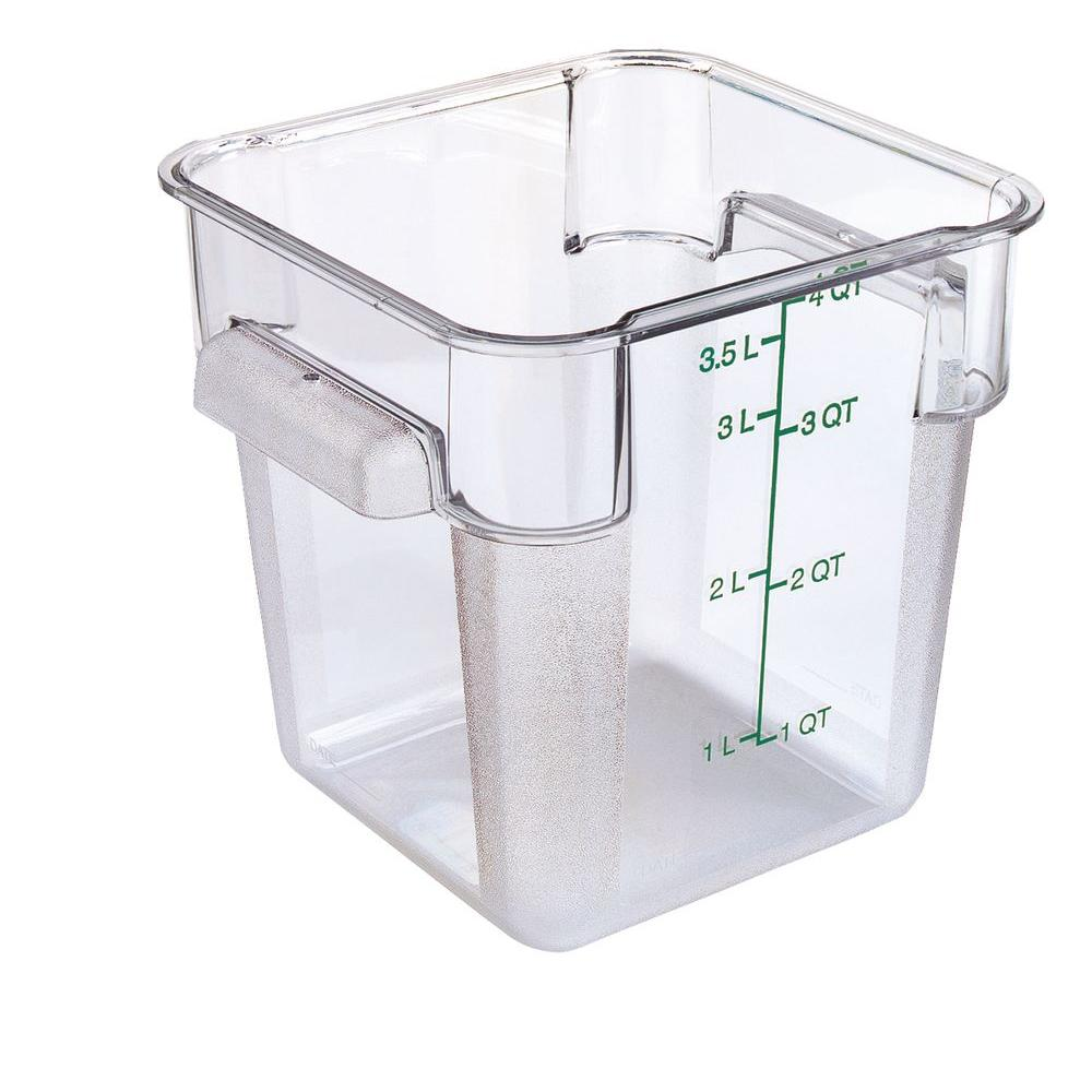 4 qt. Polycarbonate Square Food Storage Container in Clear, Lid not