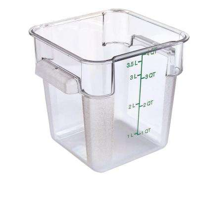 4 qt. Polycarbonate Square Food Storage Container in Clear, Lid not Included (Case of 6)