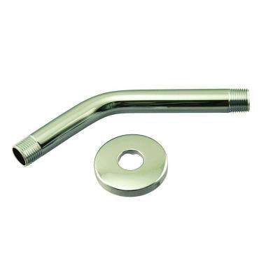 1/2 in. IPS x 8 in. Shower Arm with Flange, Polished Brass