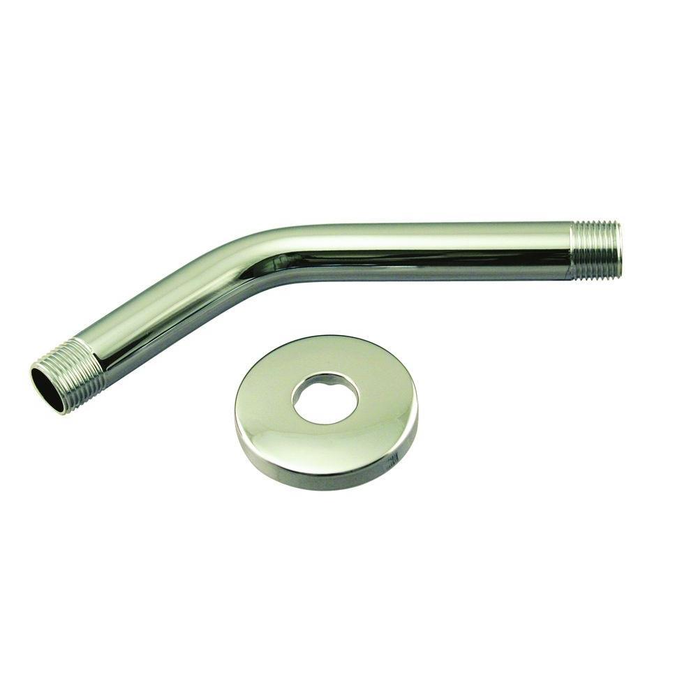 Westbrass 1/2 in. IPS x 8 in. Shower Arm with Flange, Satin Nickel