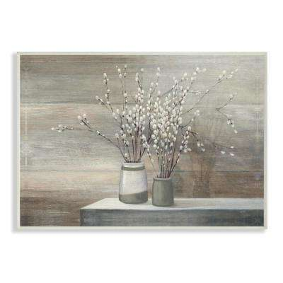 """12.5 in. x 18.5 in. """"Pussy Willow Still Life"""" by Wild Apple Printed Wood Wall Art"""