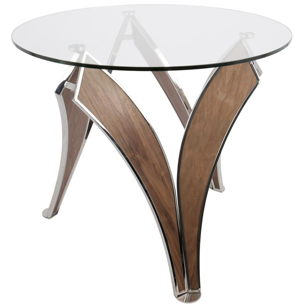 Lumisource Prestige Contemporary Walnut And Glass Round Dining Table DT PRSTG  WL+GL   The Home Depot