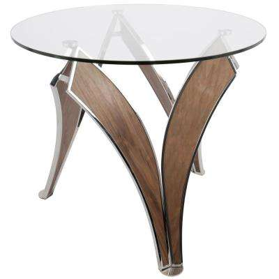 Prestige Contemporary Walnut and Glass Round Dining Table