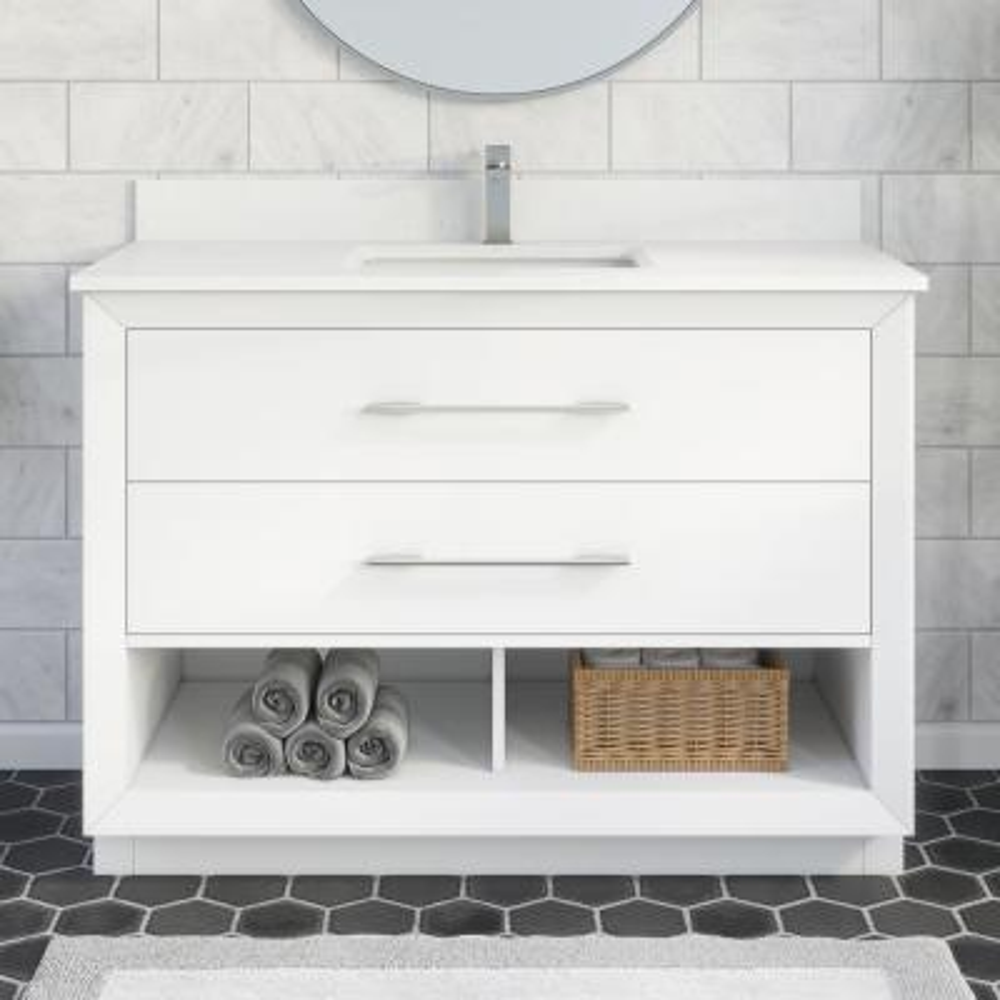 Rio II 48 in. W x 22 in. D Bath Vanity in White ENGRD Stone Vanity Top in White with White Basin Power Bar-Organizer