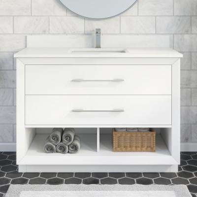 Rio II 48 in. W x 22 in. D Bath Vanity in White ENGRD Stone Vanity Top in White with White Basin Power Bar-Organizer
