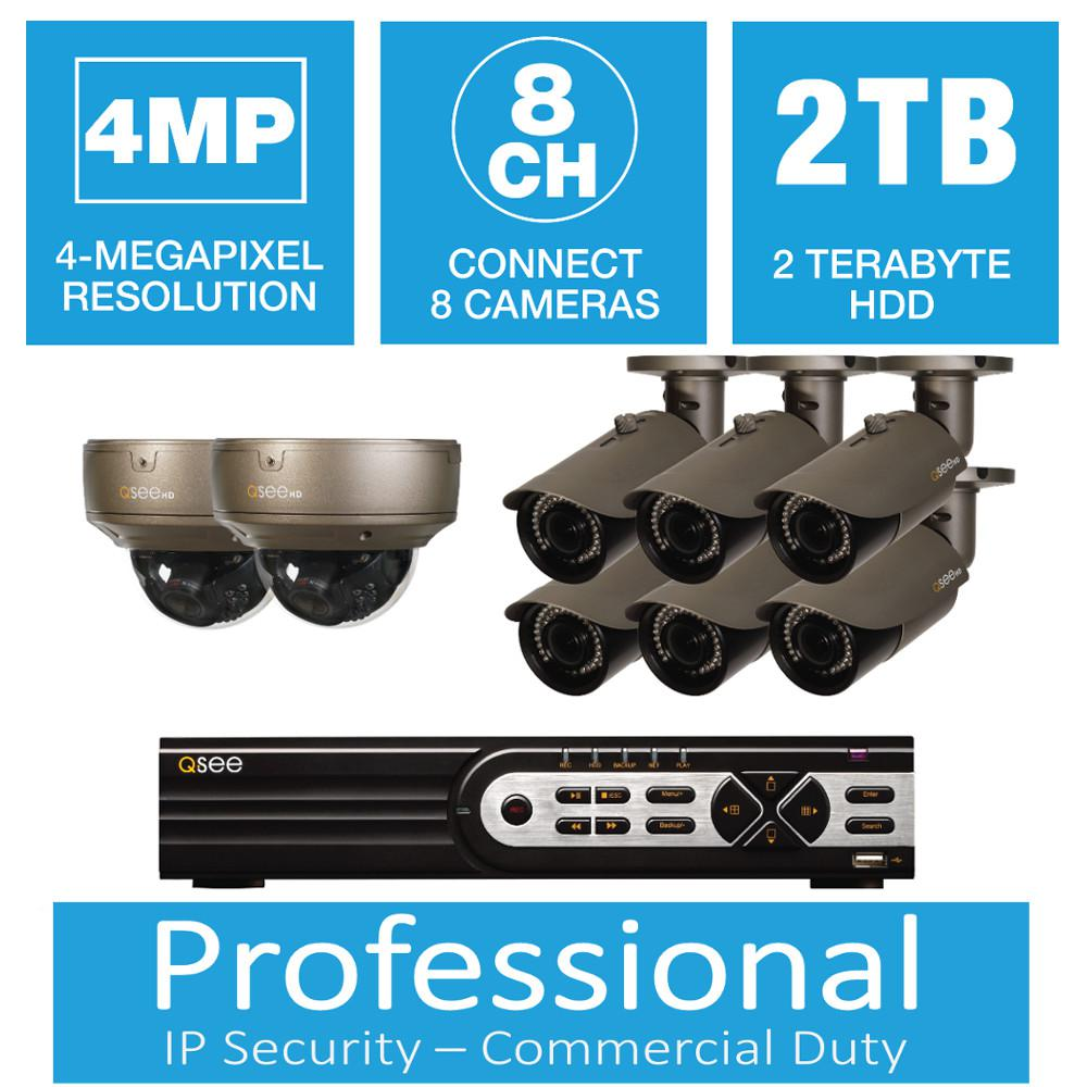 Q-SEE 8-Channel 4MP IP Indoor/Outdoor Surveillance 2TB NVR System with (6) 4MP Bullet Cameras and (2) Dome Cameras