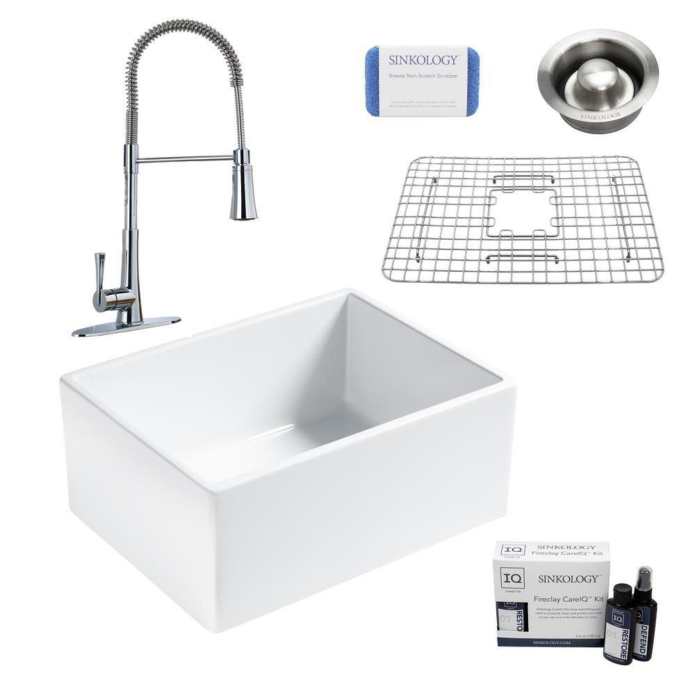 SINKOLOGY Wilcox II All-in-One Farmhouse/Apron-Fireclay 24 in. Single Bowl Kitchen Sink with Pfister Faucet and Drain
