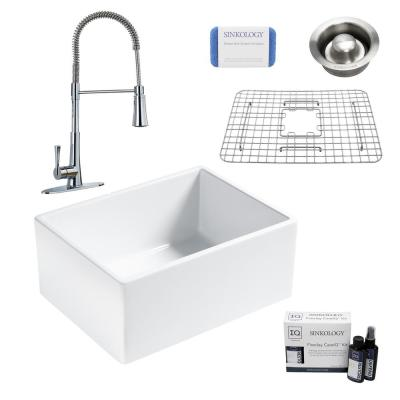 Wilcox II All-in-One Farmhouse/Apron-Fireclay 24 in. Single Bowl Kitchen Sink with Pfister Faucet and Drain