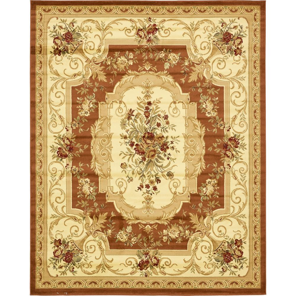 Unique Loom Versailles Henry Brick Red 8 0 X 10 0 Area Rug 3132902 The Home Depot