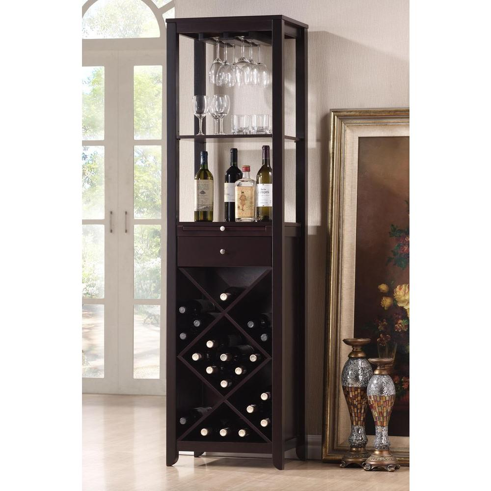 Austin 24-Bottle Dark Brown Bar Cabinet