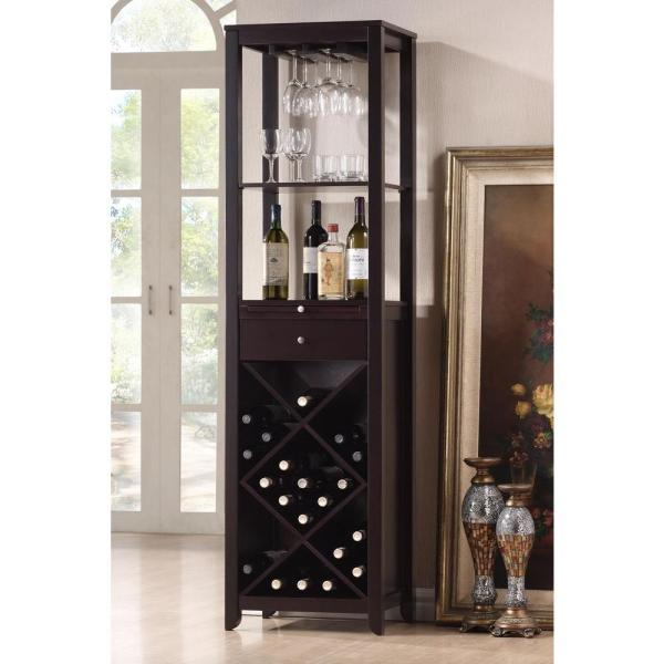 Baxton Studio Austin 24-Bottle Dark Brown Bar Cabinet 28862-3801-HD