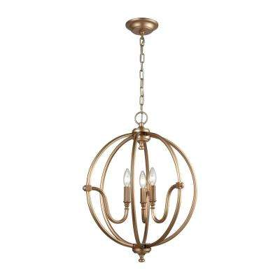 Stanton 3-Light Matte Gold Chandelier