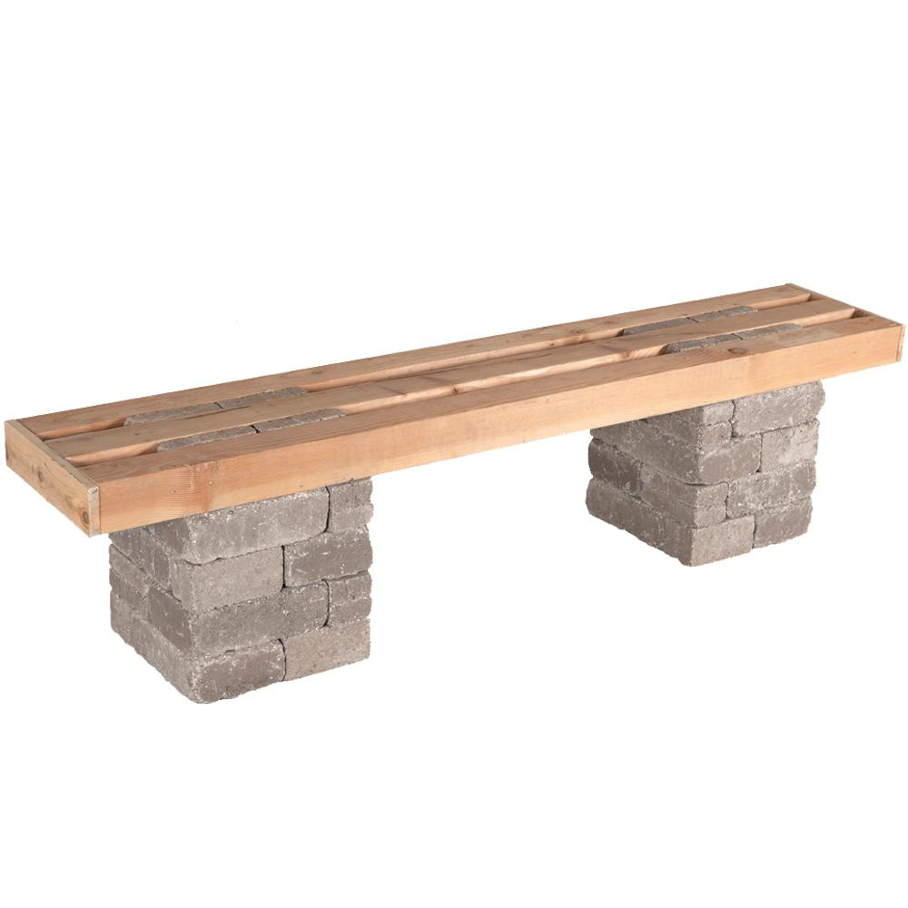 Pavestone Rumblestone 72 In X 17 5 In Concrete Garden Bench Kit In Greystone Rsk50934 The