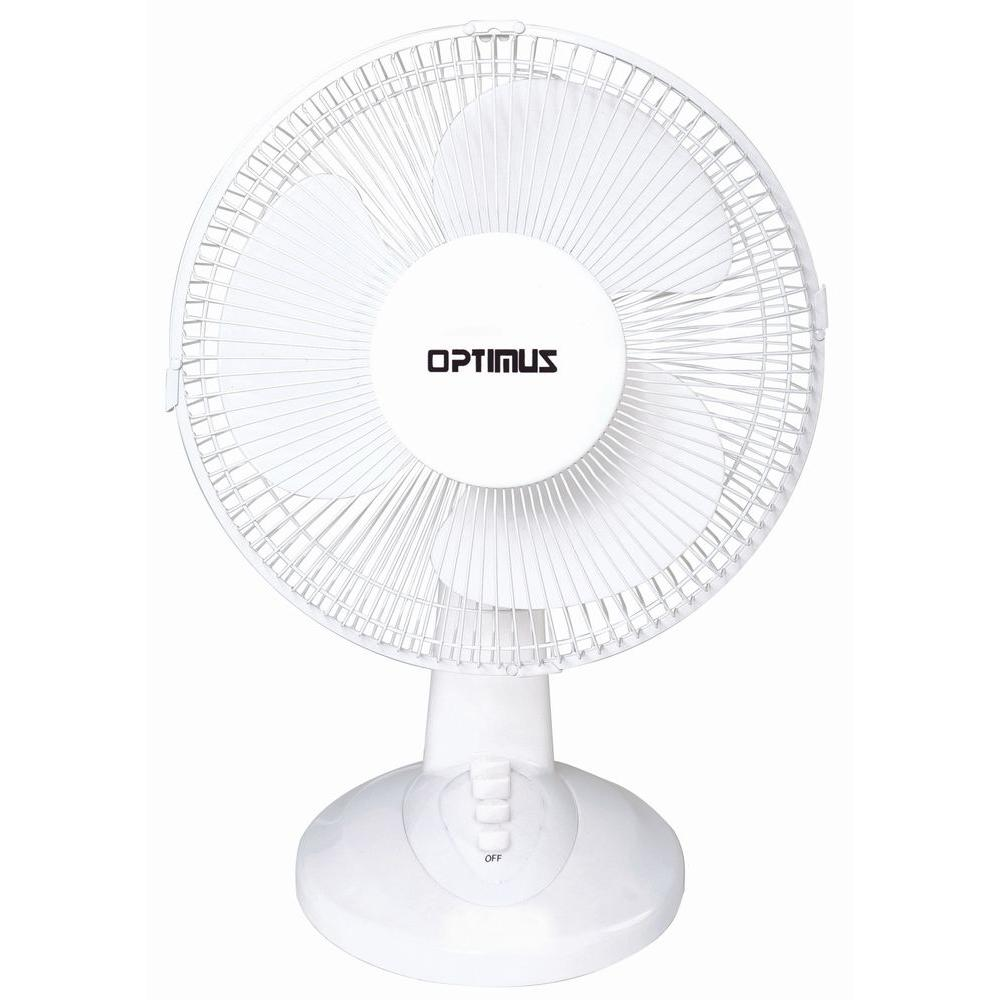 Optimus 12 in. Oscillating Table Fan The Optimus 12 in. table fan (FNOP1230) is a small and highly efficient electric fan which can cool down almost any room. This practical appliance is a must-have for all households, especially at a time that power generation charges are escalating. There are no tools required for assembly.