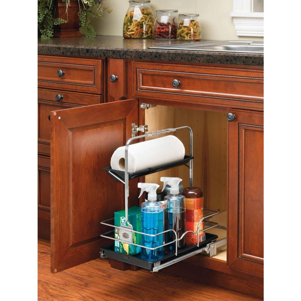 Rev-A-Shelf 19.5 in. H x 11.25 in. W x 16.25 in. D Under Sink Pull-Out Removable Chrome Caddy