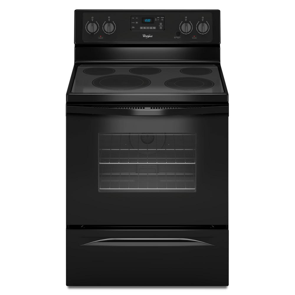 whirlpool 5 3 cu ft electric range with self cleaning convection oven in black wfe530c0eb. Black Bedroom Furniture Sets. Home Design Ideas