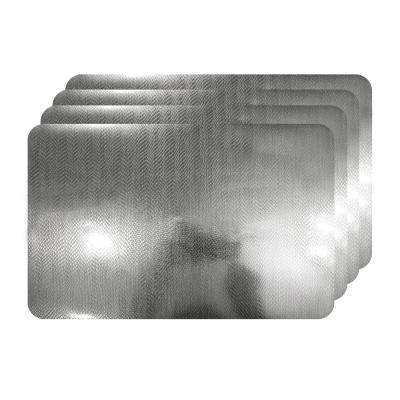 Crocodile Skin Silver Metallic Textured Placemat (Set of 4)