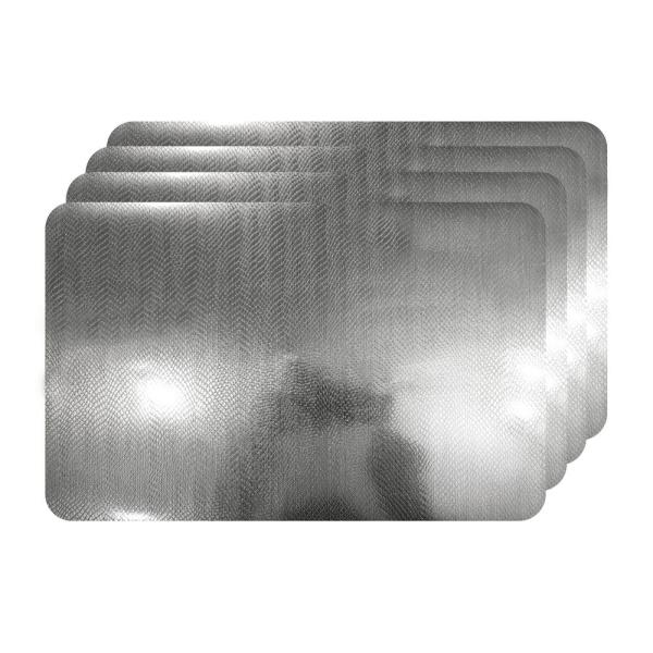 Dainty Home Crocodile Skin Silver Metallic Textured Placemat (Set of 4)