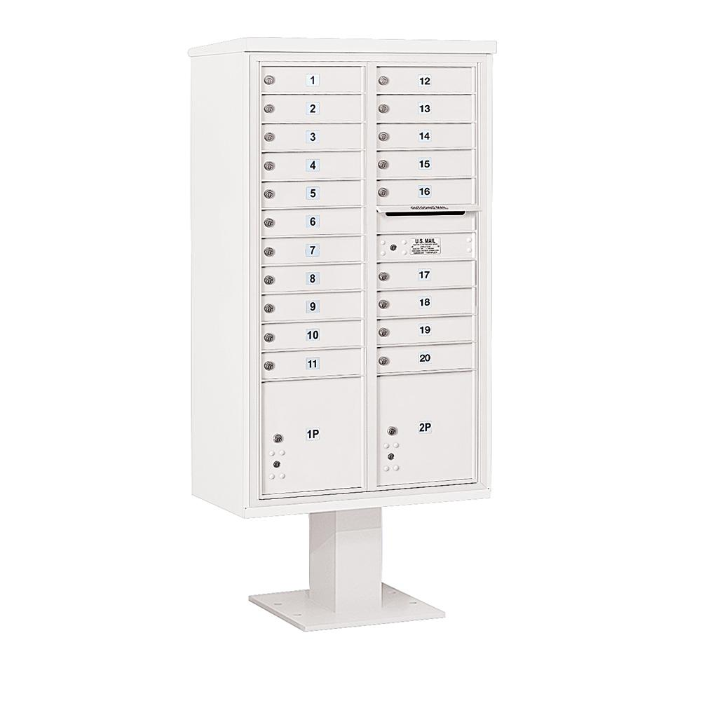 3400 Horizontal Series 20-Compartment 2-Parcel Locker Pedestal Mount Mailbox