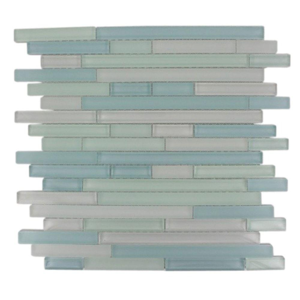 Splashback Tile Temple Coast 12 in. x 12 in. x 8 mm Glass Mosaic ...