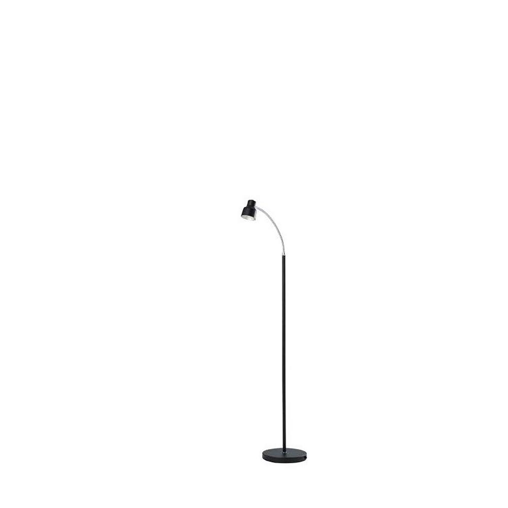 ORE International Landri 48 in. Satin Black LED Gooseneck Mini Reading  Floor Lamp