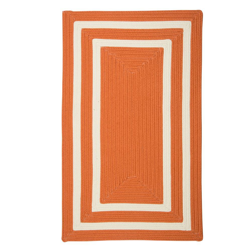 Griffin Border Orange/White 7 ft. x 9 ft. Braided Indoor/Outdoor Area