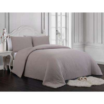 Gweneth 3-Piece Enzyme Washed Taupe Queen Solid Comforter Set