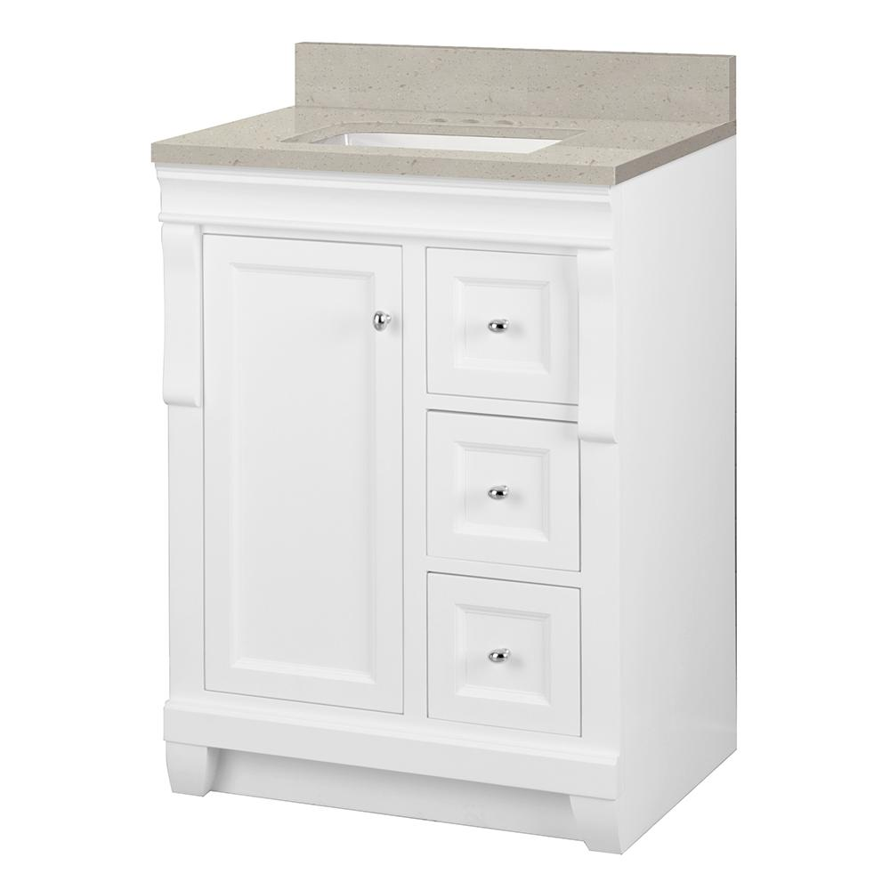Home Decorators Collection Naples 25 in. W x 22 in. Bath Vanity Cabinet in White with Engineered Quartz Vanity Top in Stoneybrook with White Sink
